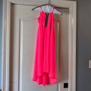 Neon-Pink Girls Flowy Hi-lo Maxi Dress- Japna Kids